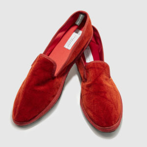 Furlane for men, red velvet and rubber sole, light heel rise, inside made of red silk