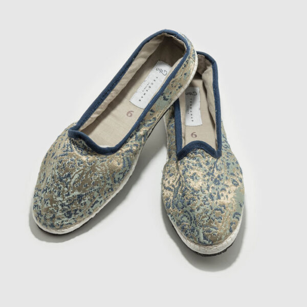 Furlana shoes made of Rubelli fabric with bike tyre sole.