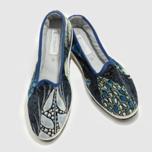 Furlana shoes made of fabric velvet with bike tyre