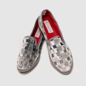 Luxury furlana shoes of checkered velvet