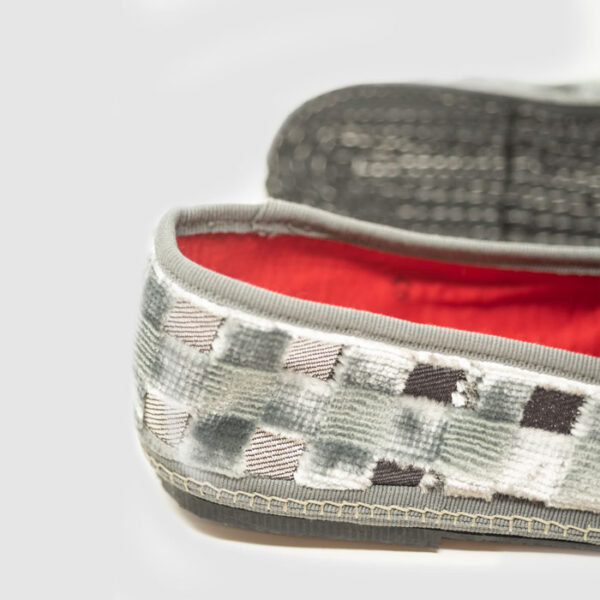 Luxury furlana shoes of checkered velvet
